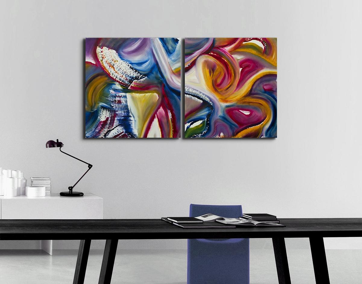 Dittico espressionista gestuale festa olio su tela