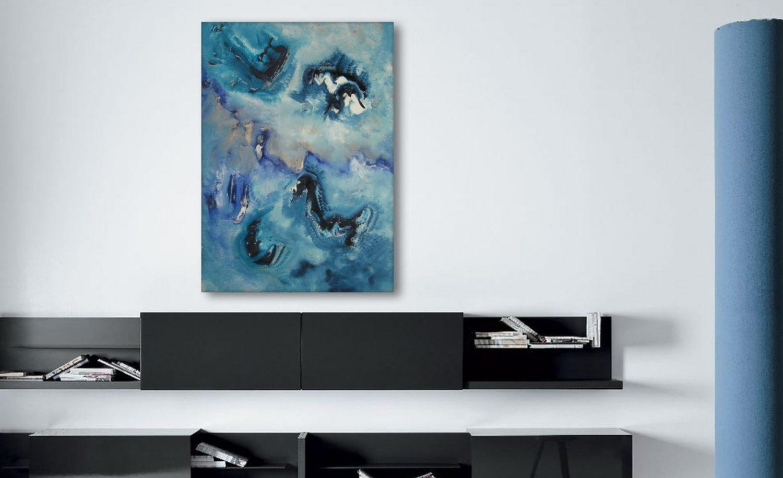 Linguaggi spaziali, 70x50 olio su tela, quadro astratto