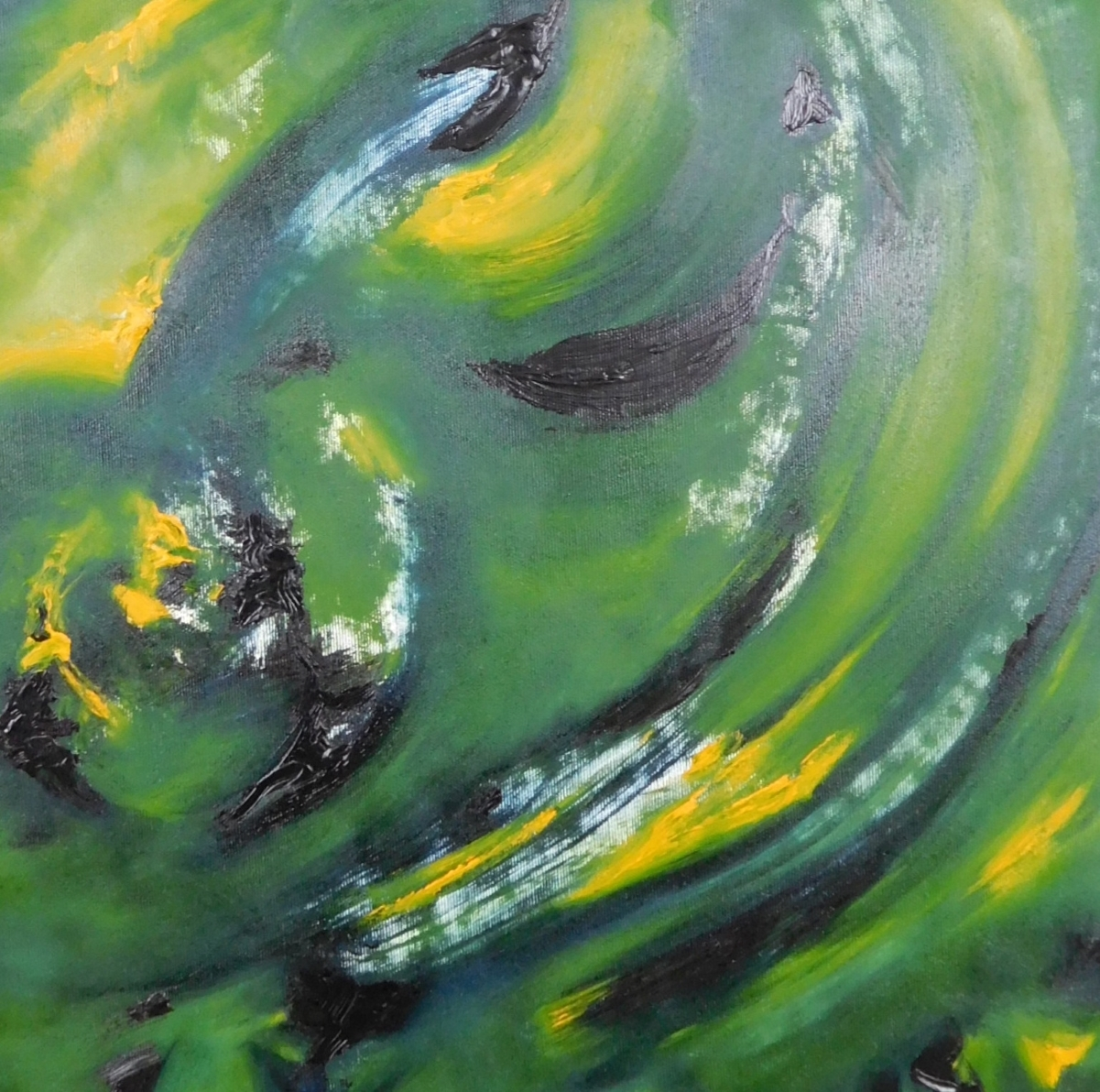 """Dipinto astratto moderno """"Untitled in green"""" 55x75 cm"""