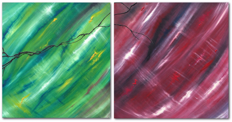 Contrapposto, dittico, n° 2 opere, quadro dipinto originale astratto