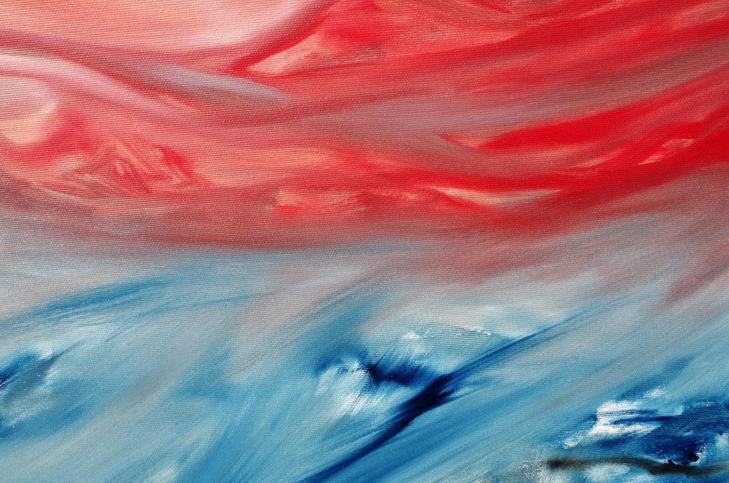 Red sunset on the sea 1 2017 80x80x4 olio dipinto originale astratto