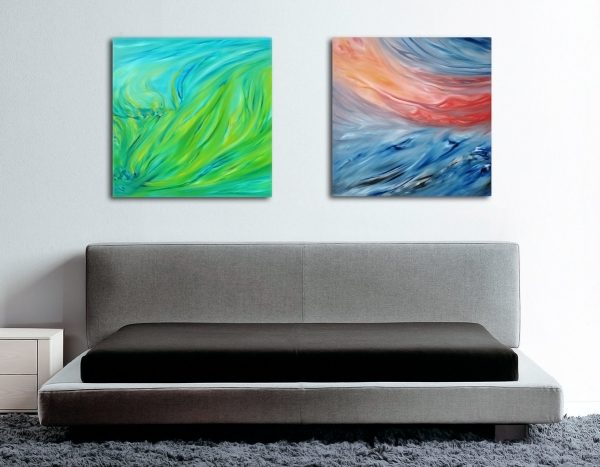 Composizione n° 2 dipinti spring green and red sunset at the sea, 160x80 cm dipinto originale