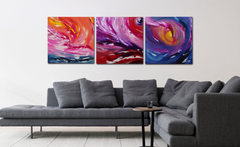 fairy tale triptych dipinto astratto moderno in vendita
