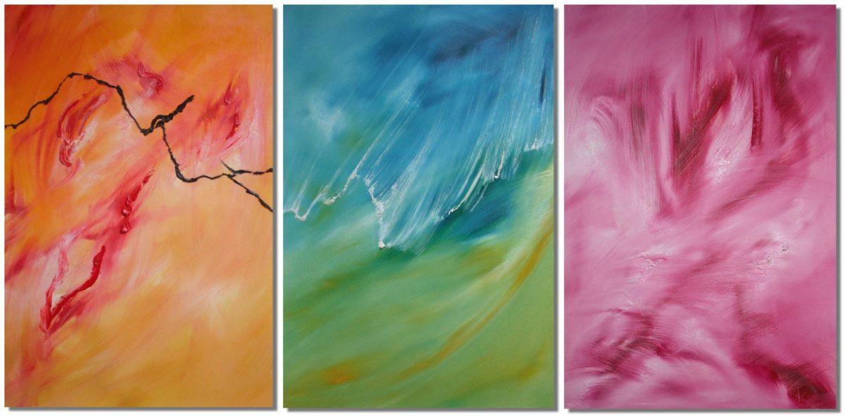 dolce onda di fuoco triptych dipinto astratto moderno in vendita