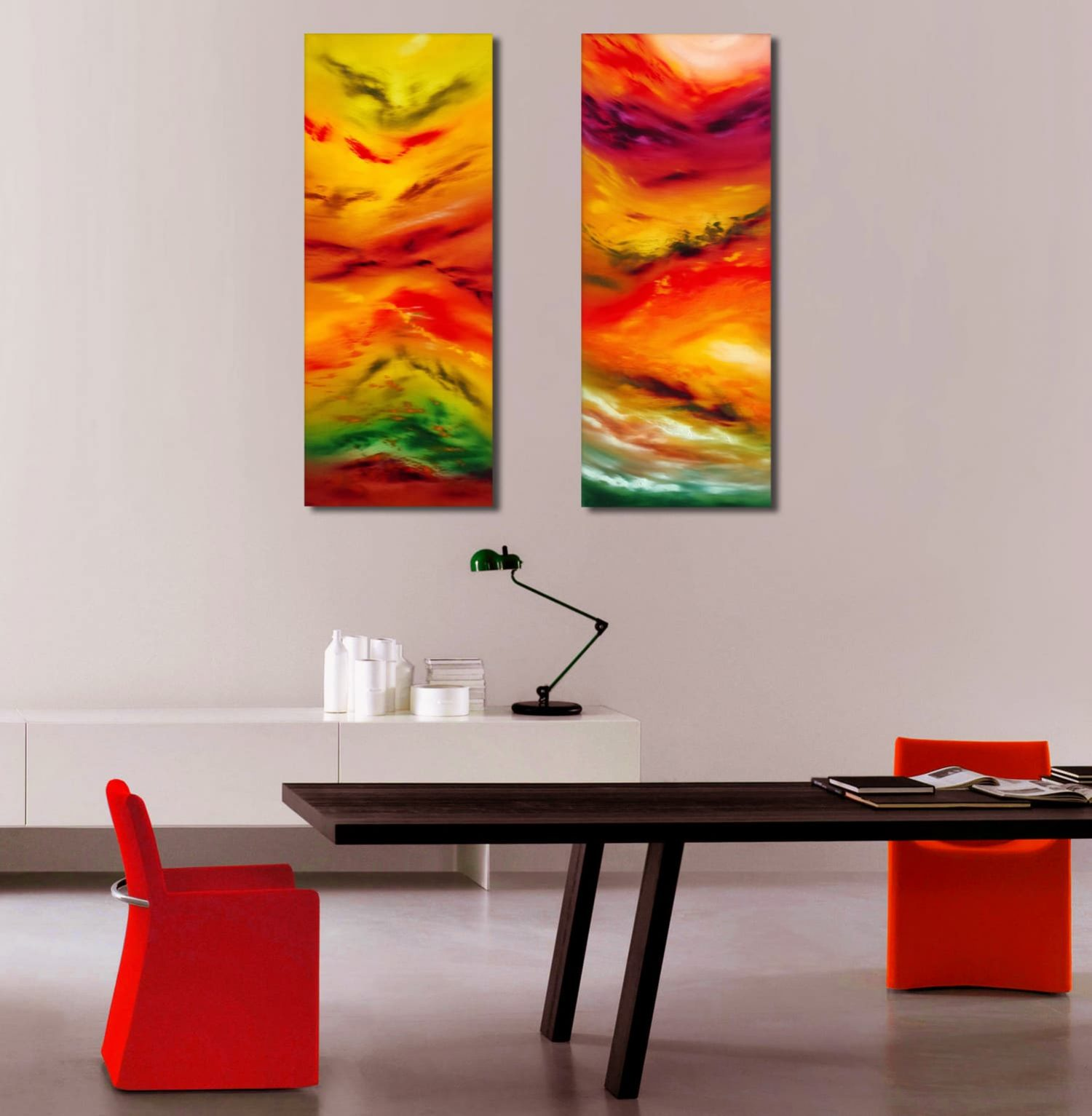 Autunm leaves Diptych quadro astratto in vendita online