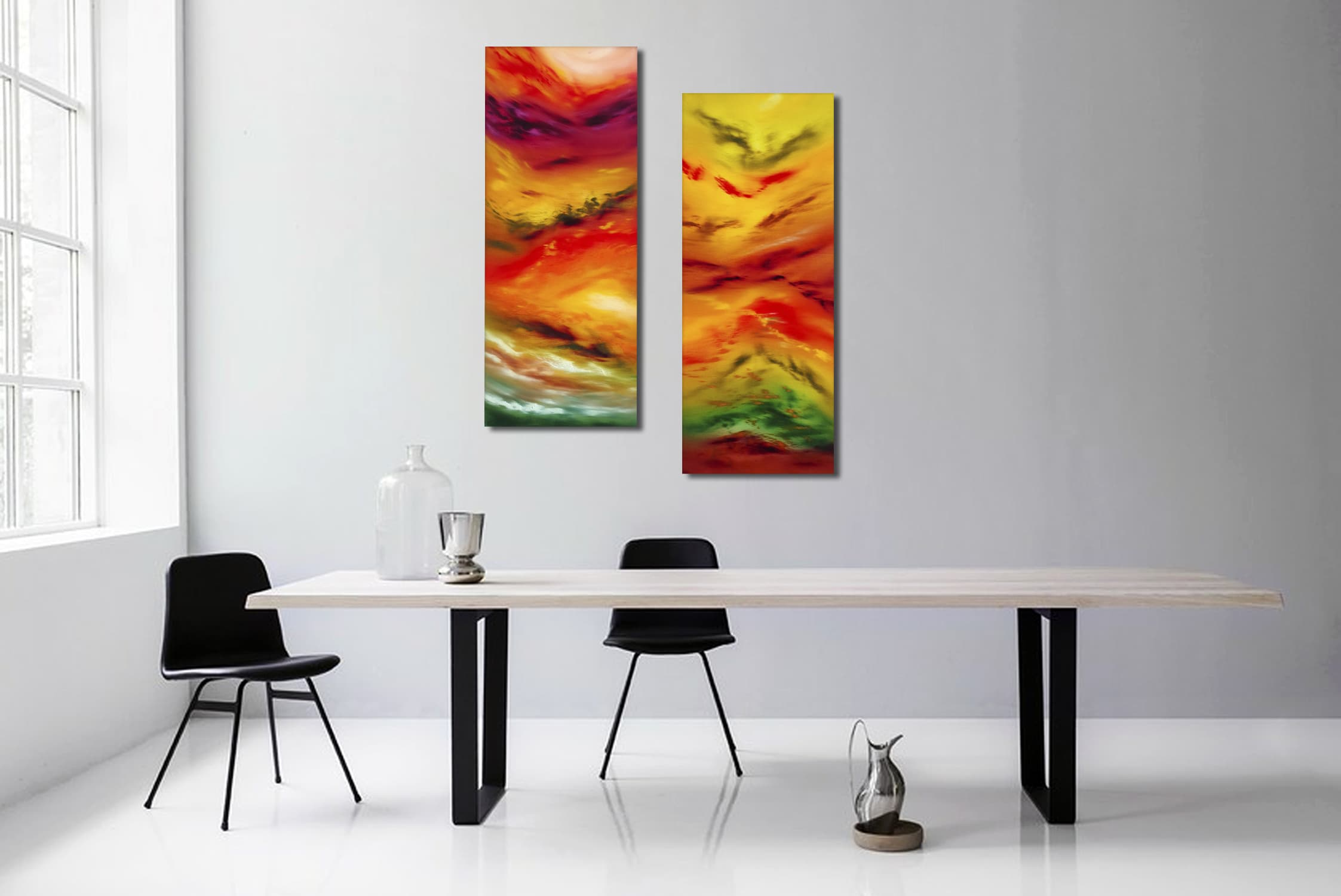 Autumn leaves, Diptych 80x100 n° 2 opere dipinto astratto moderno ...
