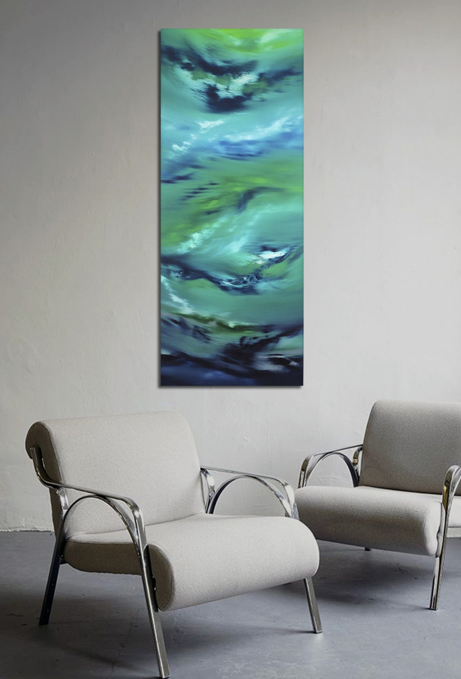 Deepest night 100x40x4 quadro astratto in vendita online