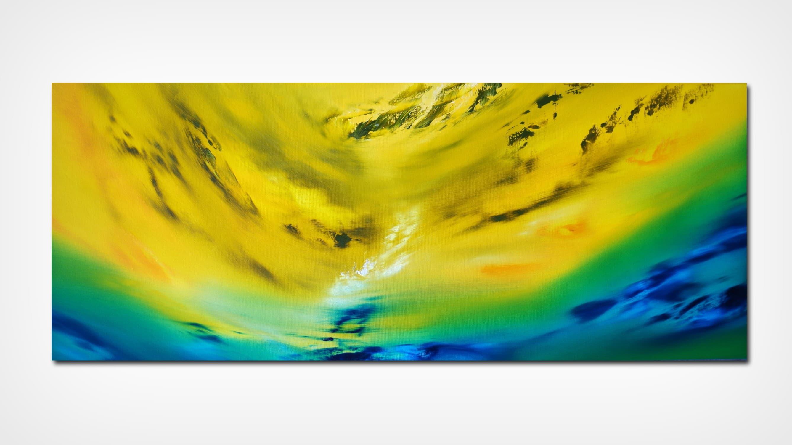 Yellow vision 100×40 2018 oil quadro astratto in vendita