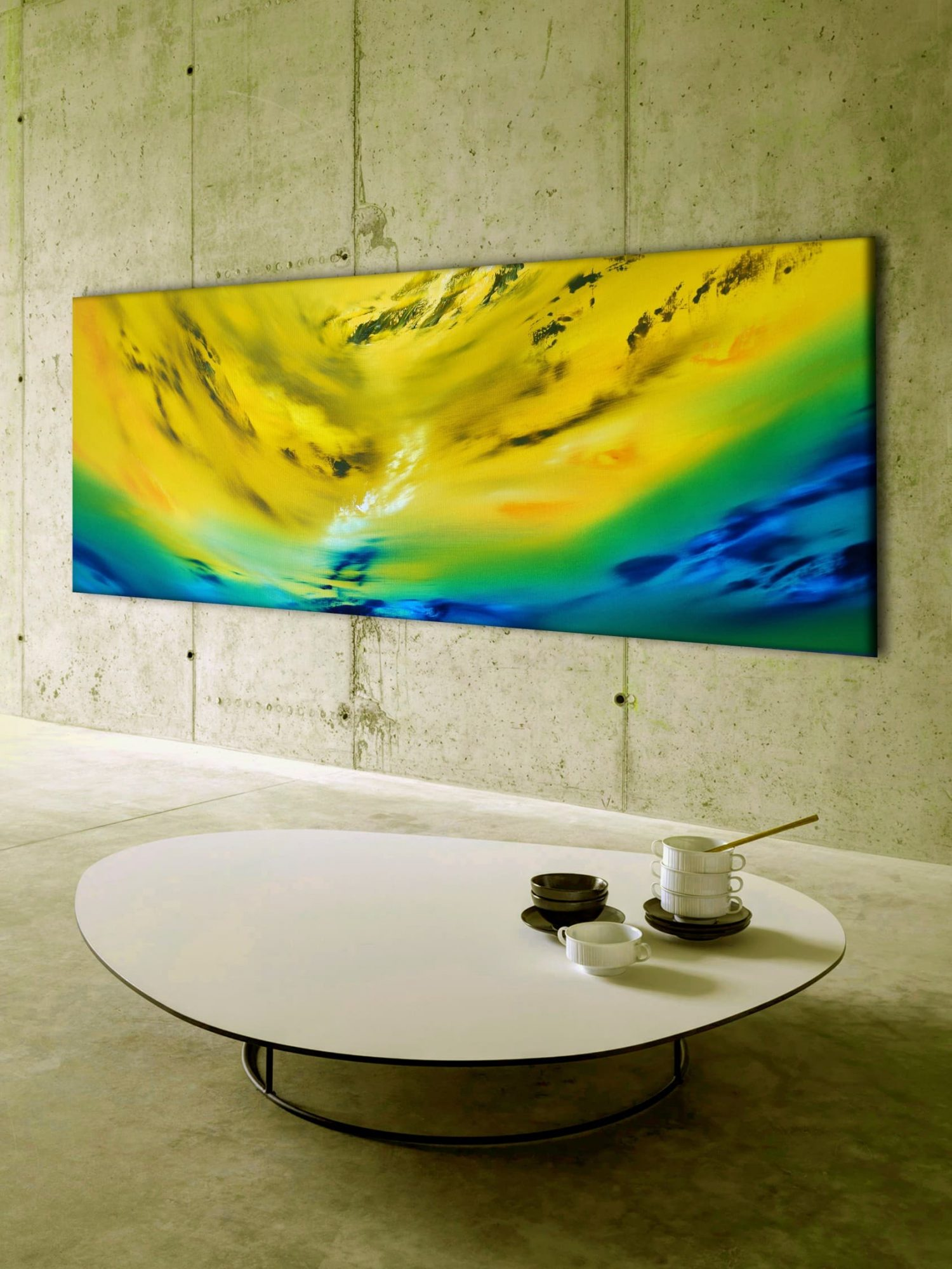 Yellow vision 100x40 2018 oil quadro astratto in vendita