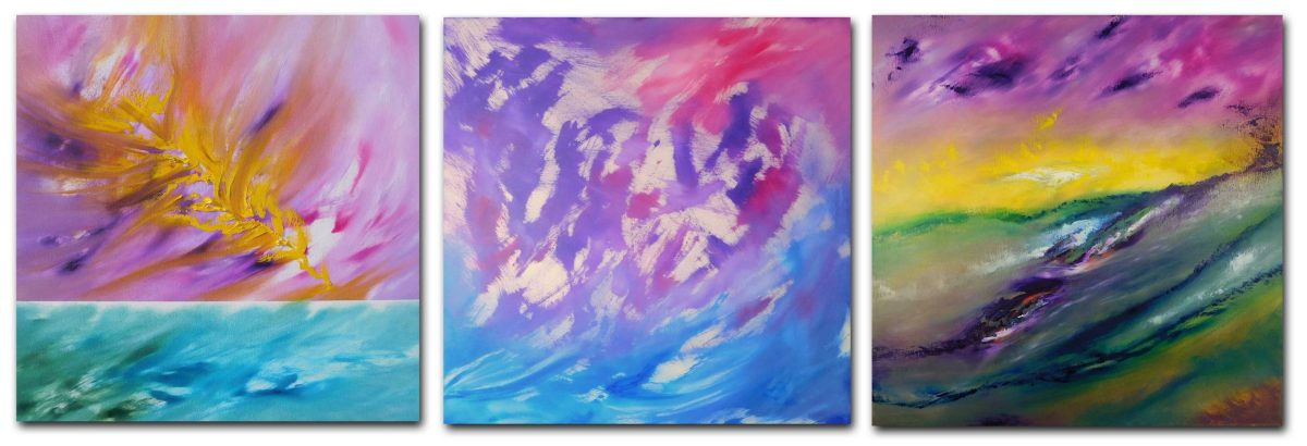 this is not a landscape Triptych n 3 opere 240 x 80 dipinti originali