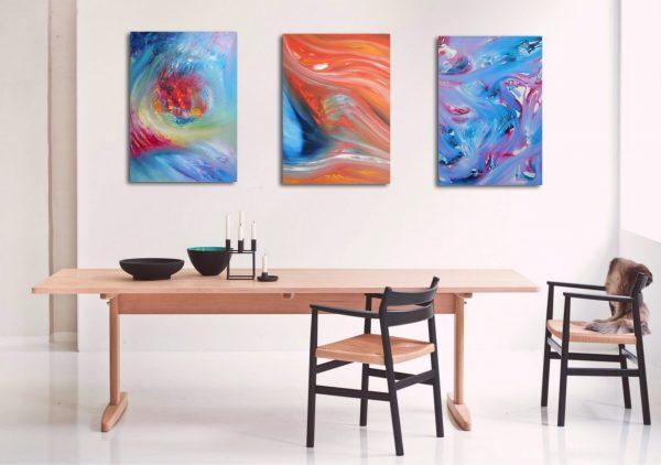 Ensamble Triptych n 3 opere 150 x 70 dipinti originali