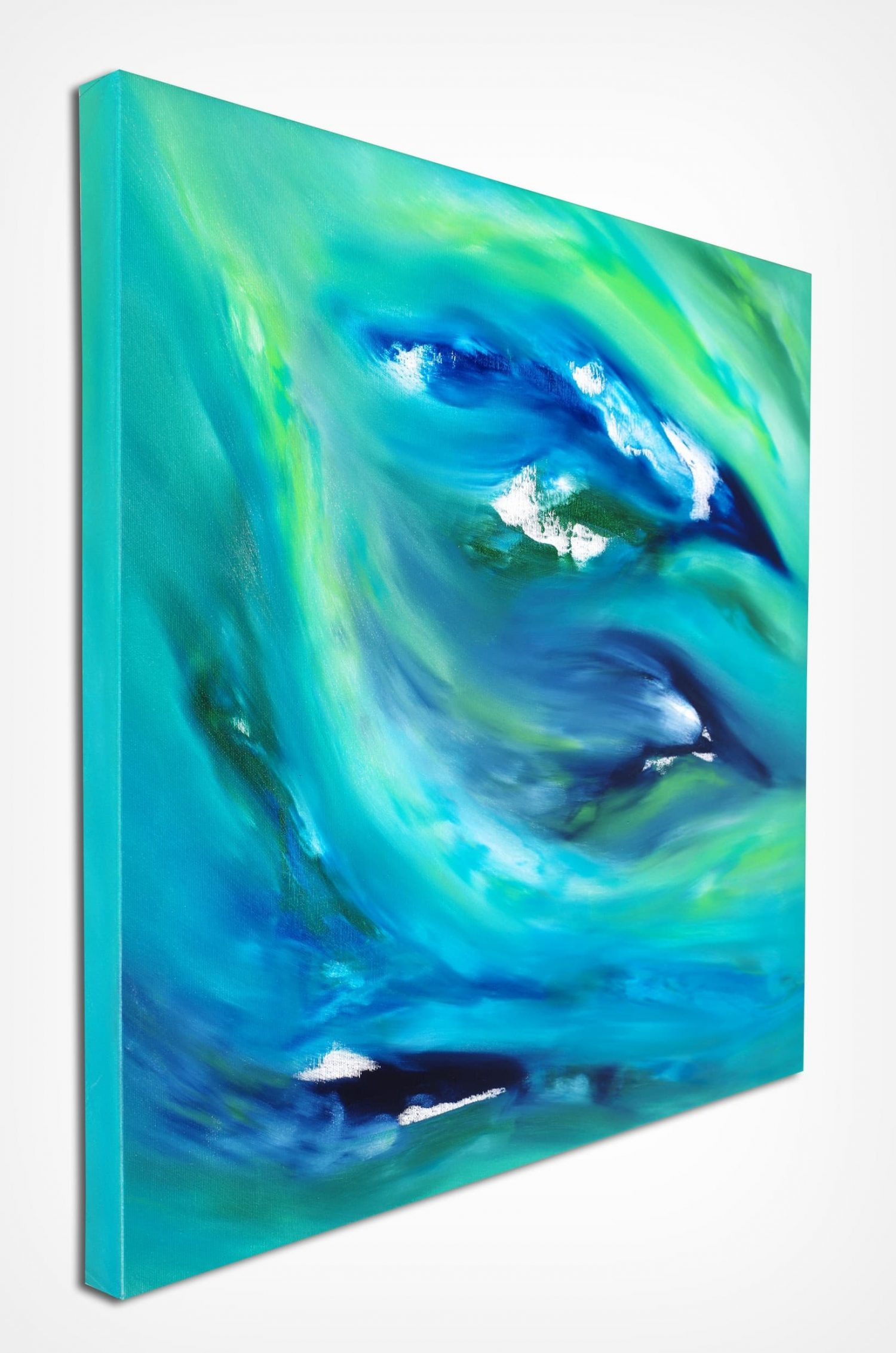 Blue and green 60x60 quadro dipinto originale astratto in vendita online