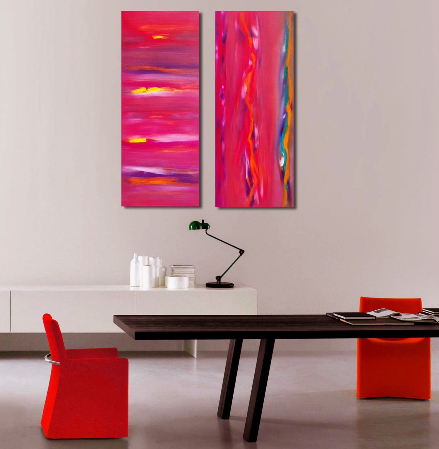 Anomaly sunset Diptych quadro astratto in vendita online