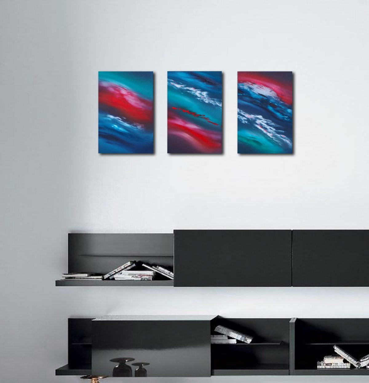 Time passes slowly triptych dipinto originale in vendita online