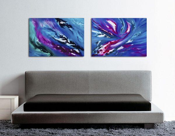 Blue sky Diptych quadro astratto in vendita online