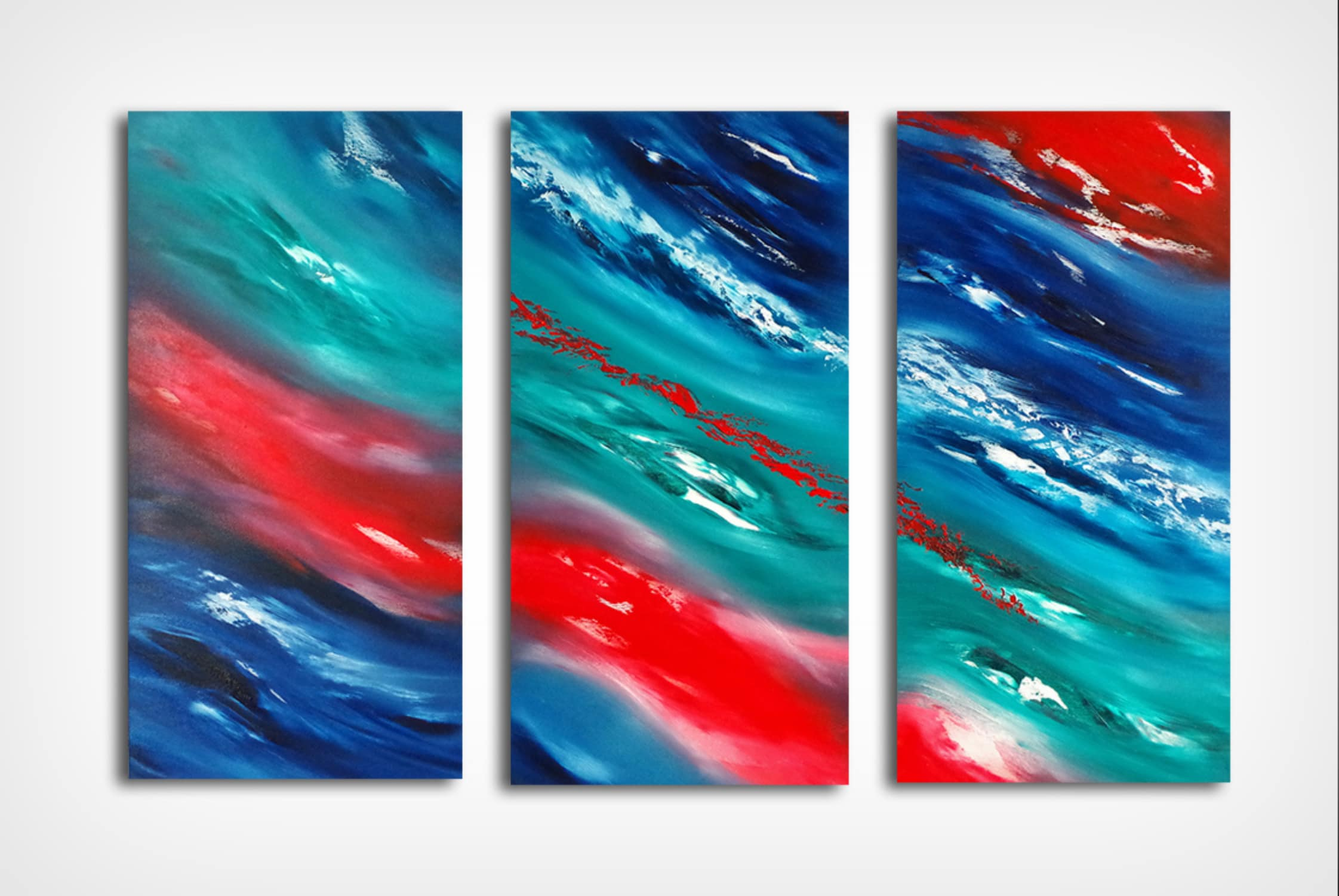 opera su commissione Time passes slowly II triptych dipinto originale in vendita online