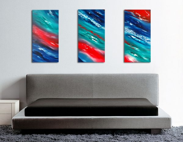 opera su commissione Time passes slowly II triptych dipinto originale in vendita online