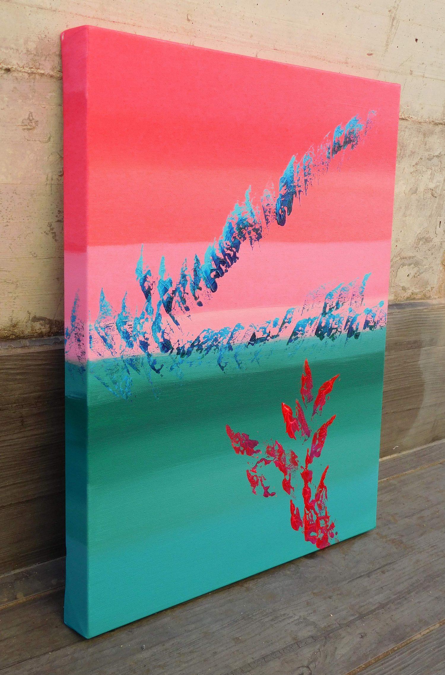 Scarlet & green 40x50 acrilico quadro astratto in vendita online