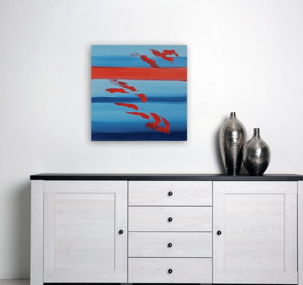 Red and blues 50x50 acrilico quadro astratto in vendita online