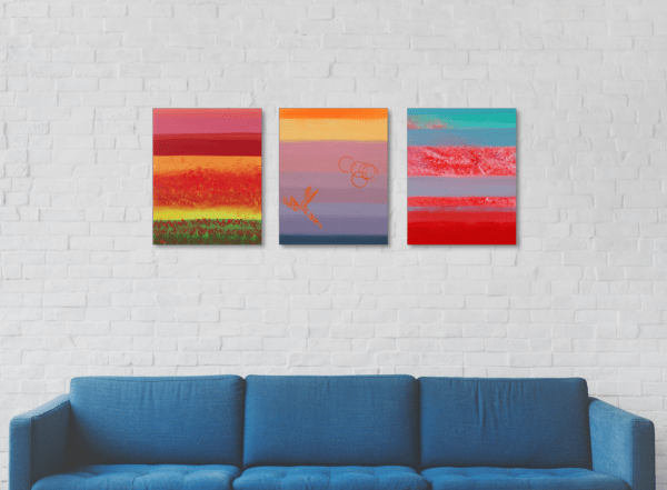 "Dipinti originali minimal ""Calm, triptych"" n° 3 Dipinti"