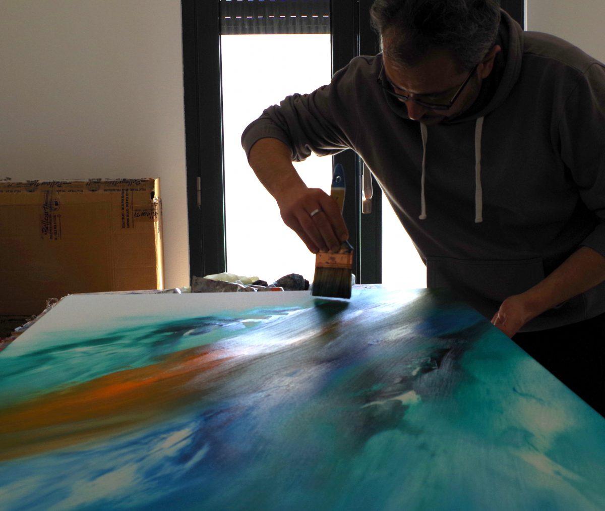 Quadri astratti moderni - Artista Davide De Palma all'opera