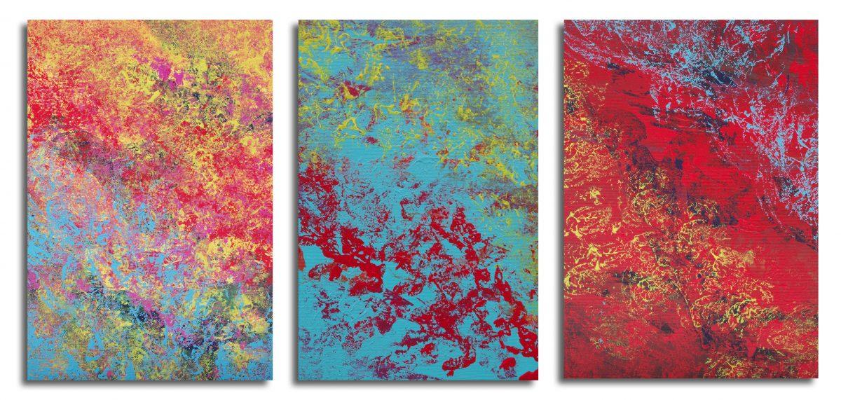 "Dipinti espressionisti astratti ""Mistycal"", triptych"" n° 3 quadri"