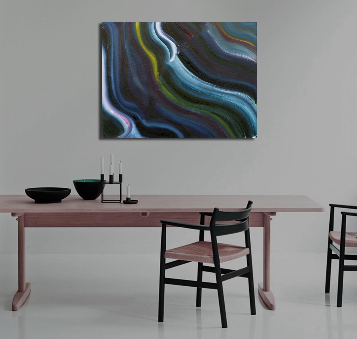 Opera minimal astratta neon olio su tela