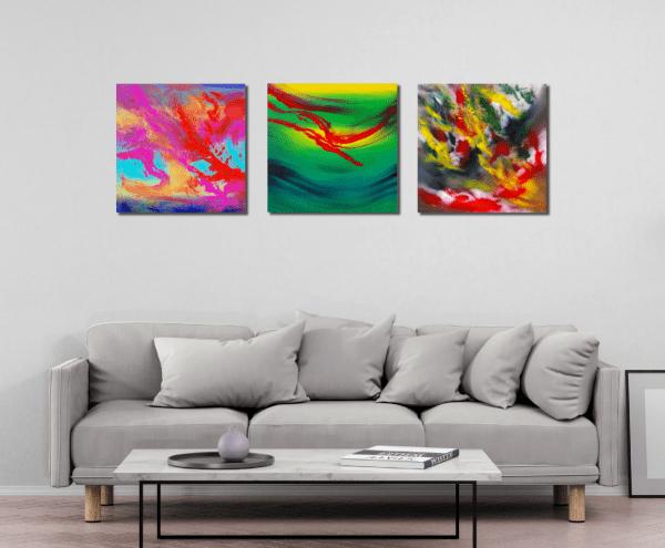 "Quadri espressionisti originali ""Gestural, triptych"" n° 3 Dipinti"