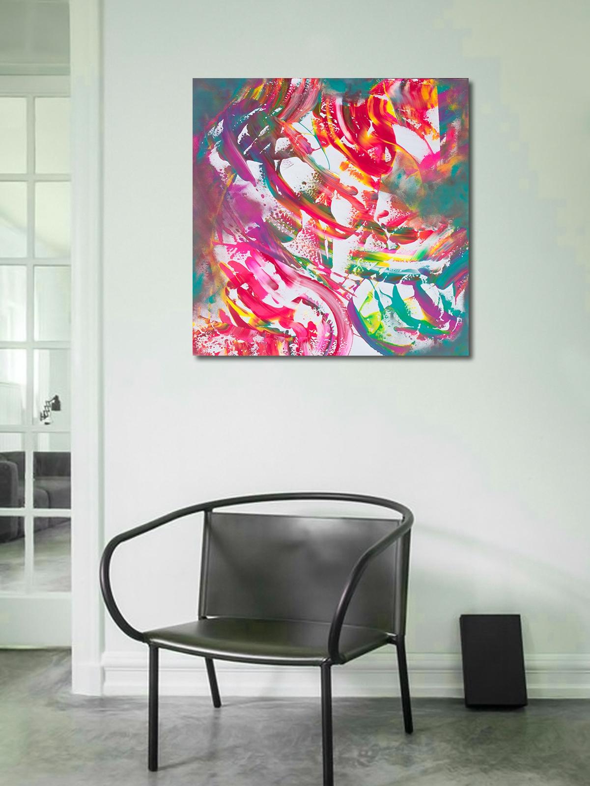"""Dipinto contemporaneo multicolore """"Reflexion"""""""