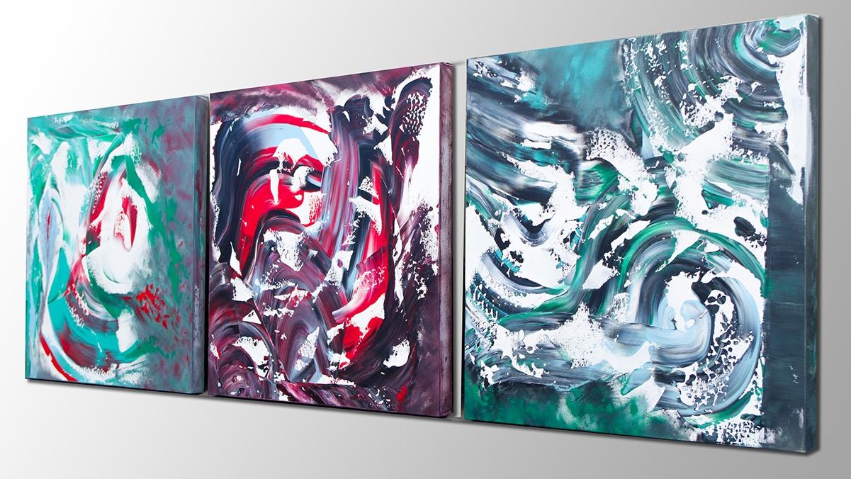 """Composizione di quadri astratti """"The dream runs away, Triptych"""" n° 3 dipinti"""