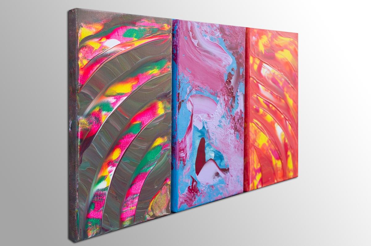 "Opere gestuali contemporanee ""Burning soul, Triptych"" n° 3 quadri"