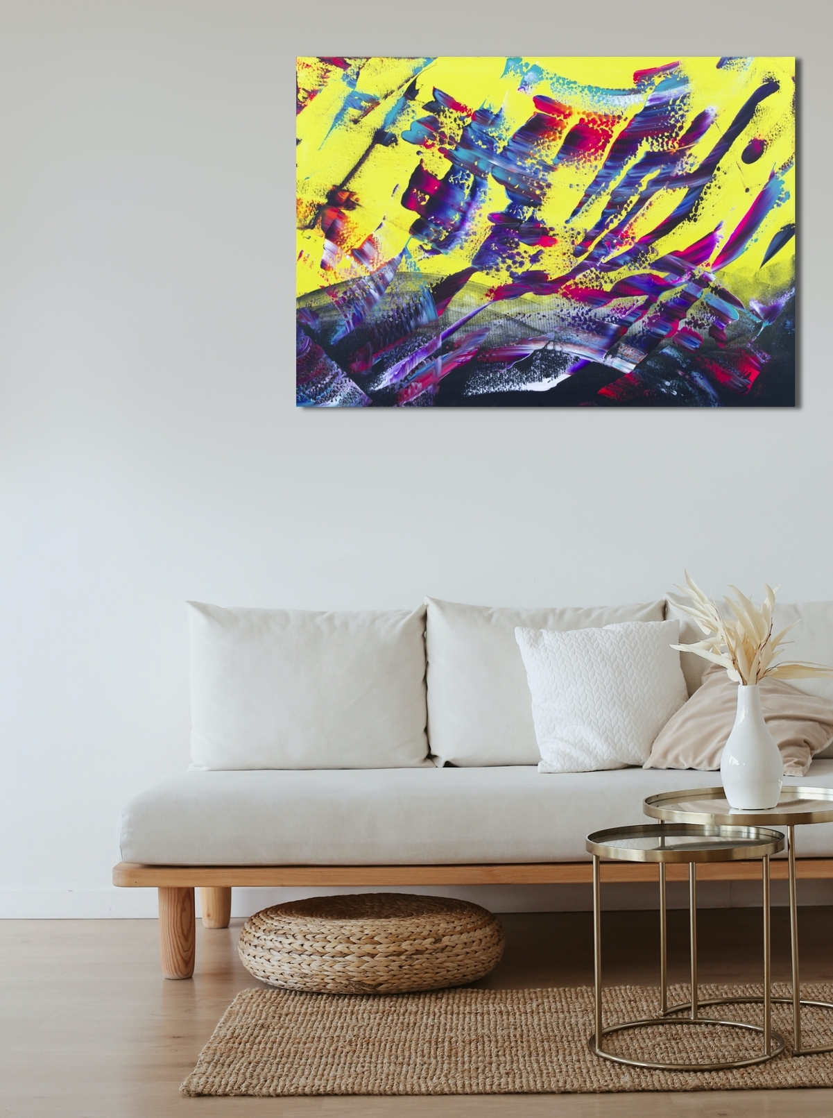 "Dipinto astratto multicolore ""Yellow energy"" 100x70 cm"