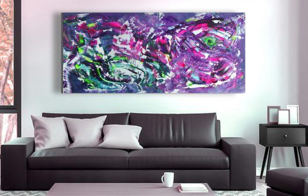 """Dipinto moderno di grande dimensione """"Clumsy"""" 200x90 cm"""