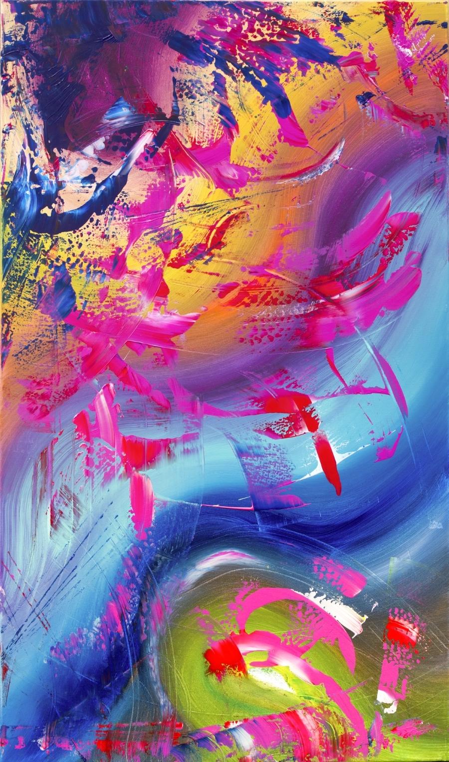 """Opera astratta multicolore """"Gesture"""" 60x100 cm"""