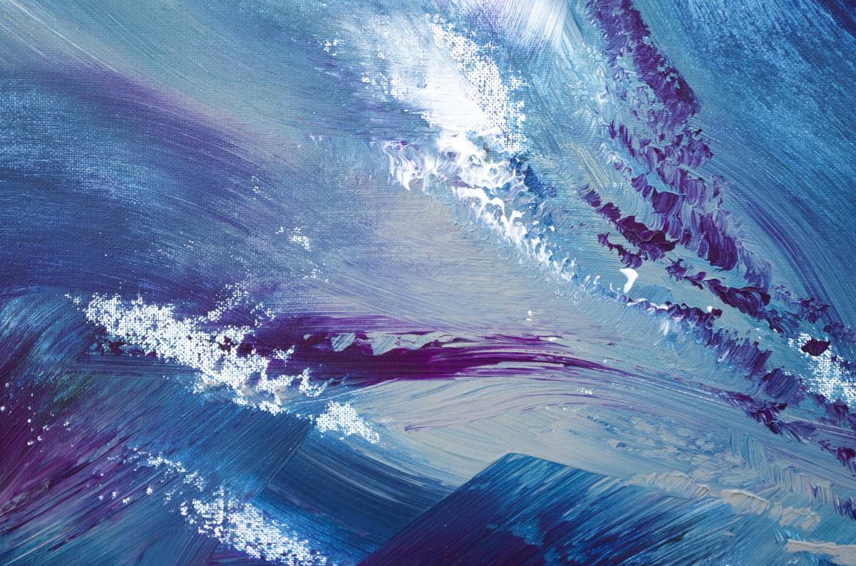 "Quadro espressionista blu ""My stormy sea"" 100x60 cm"