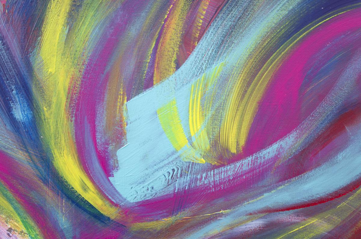 """Opera multicolore floreale """"Singing flower """" 60x100 cm"""