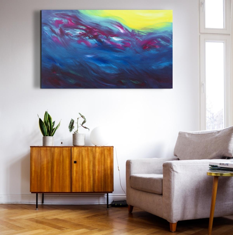 "Dipinto gestuale ""The sun warm me"" 100x60 cm"