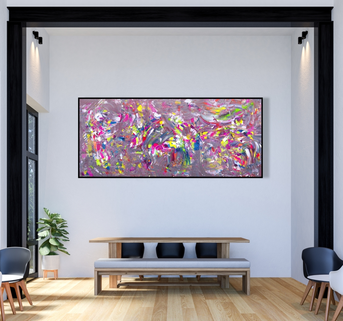 """Quadro extra large """"All colors in a jazz composition"""" 200x90 cm"""