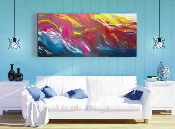 """Dipinto emozionale astratto """"Imaginary landscape"""" 200x90 cm"""