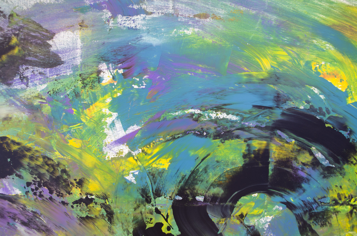 """Opera gestuale astratta """"Obscure with yellow"""" 200x90 cm"""