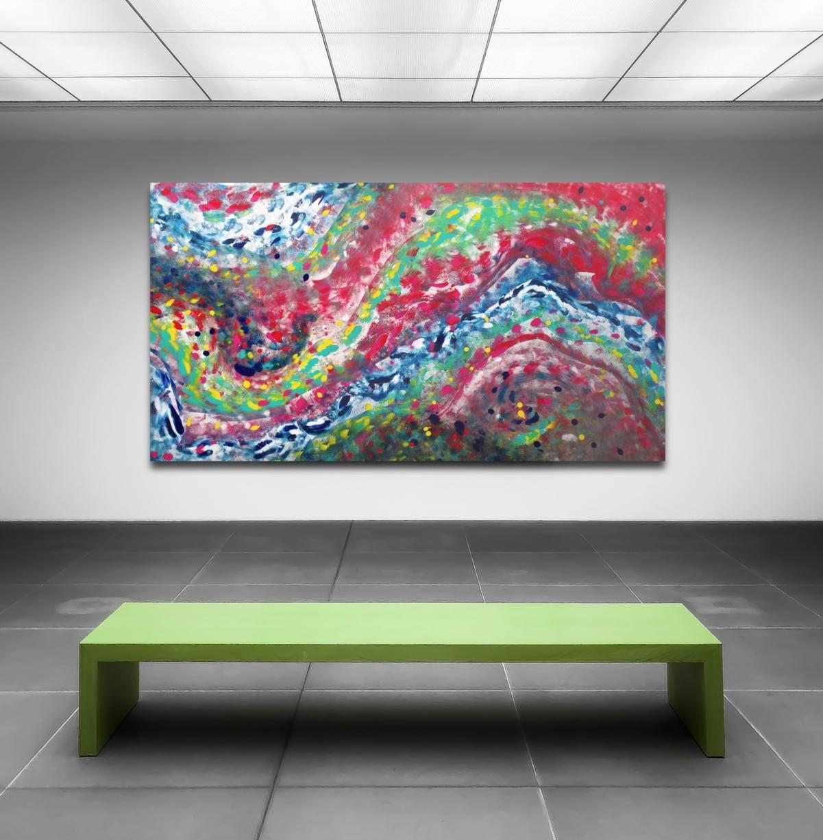 "Dipinto multicolore astratto ""A Jazz composition II"" 200x115 cm"