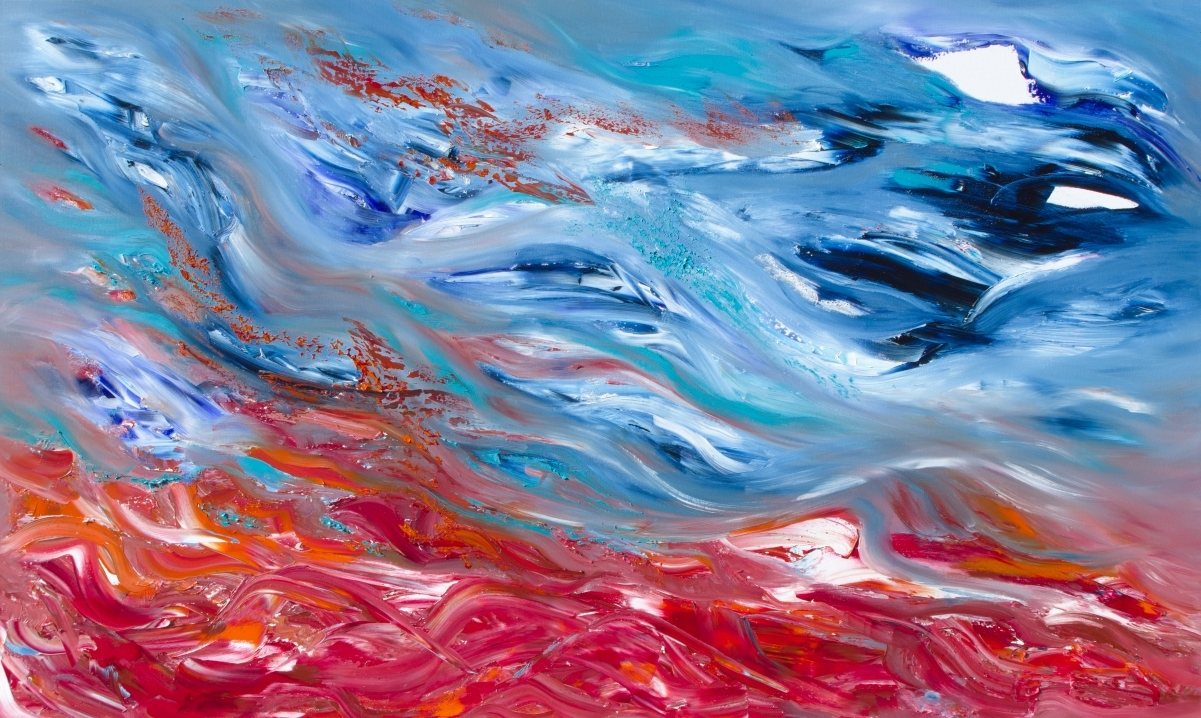 """Dipinto cielo astratto """"Restless calm II"""" 100x60 cm"""