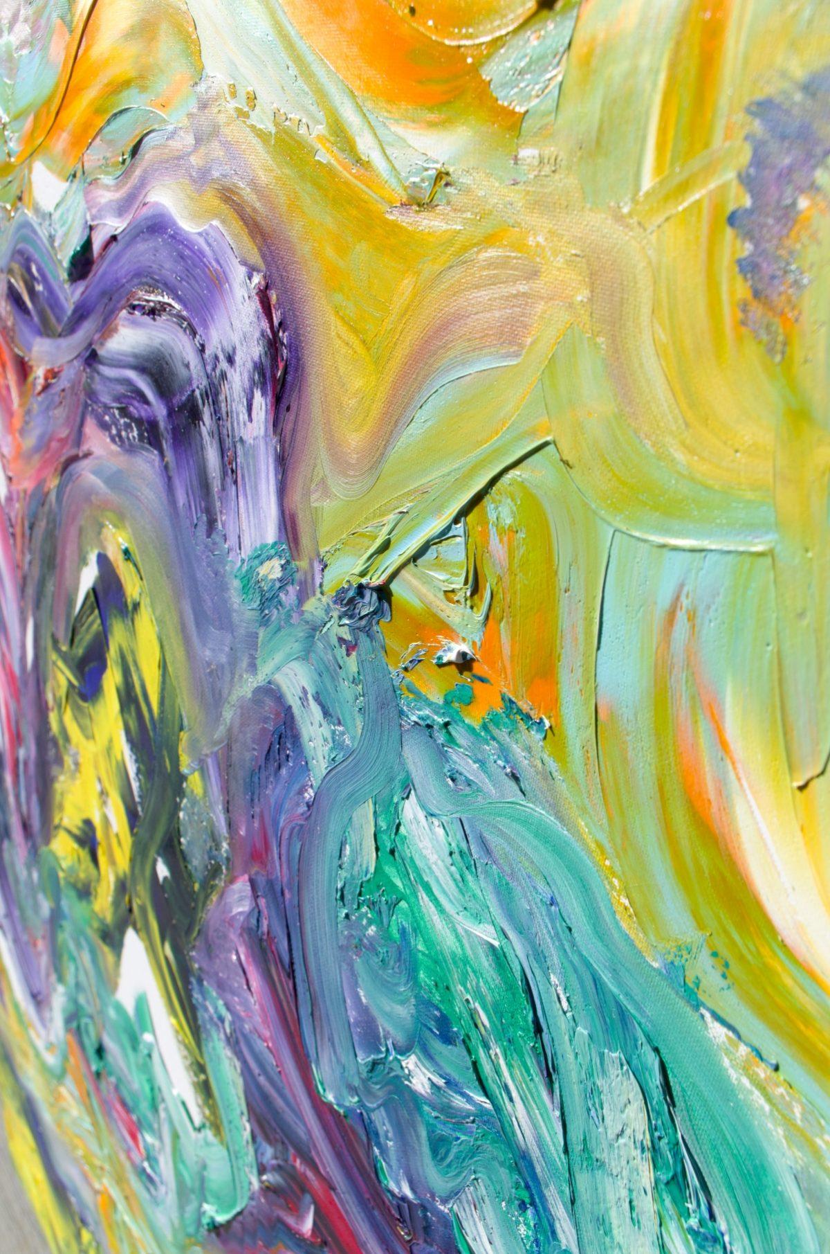 """Dipinto materico multicolore """"Singularity """" 60x100 cm"""